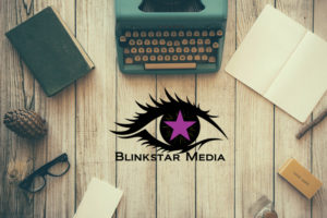 Desk w/ Blinkstar Media Logo