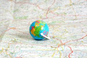 Globe on map